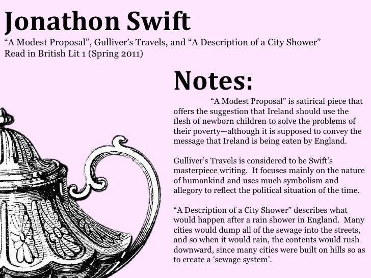 Jonathon Swift―A Modest Proposal‖, Gulliver's Travels, and ―A Description of a City Shower‖Read in British Lit 1 (Spring 2...