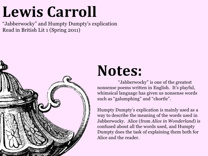 Lewis Carroll―Jabberwocky‖ and Humpty Dumpty's explicationRead in British Lit 1 (Spring 2011)                             ...
