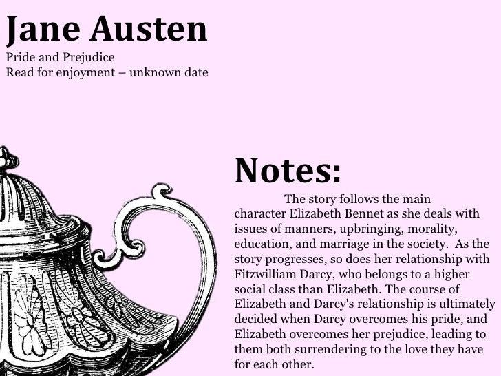 Jane AustenPride and PrejudiceRead for enjoyment – unknown date                                    Notes:                 ...