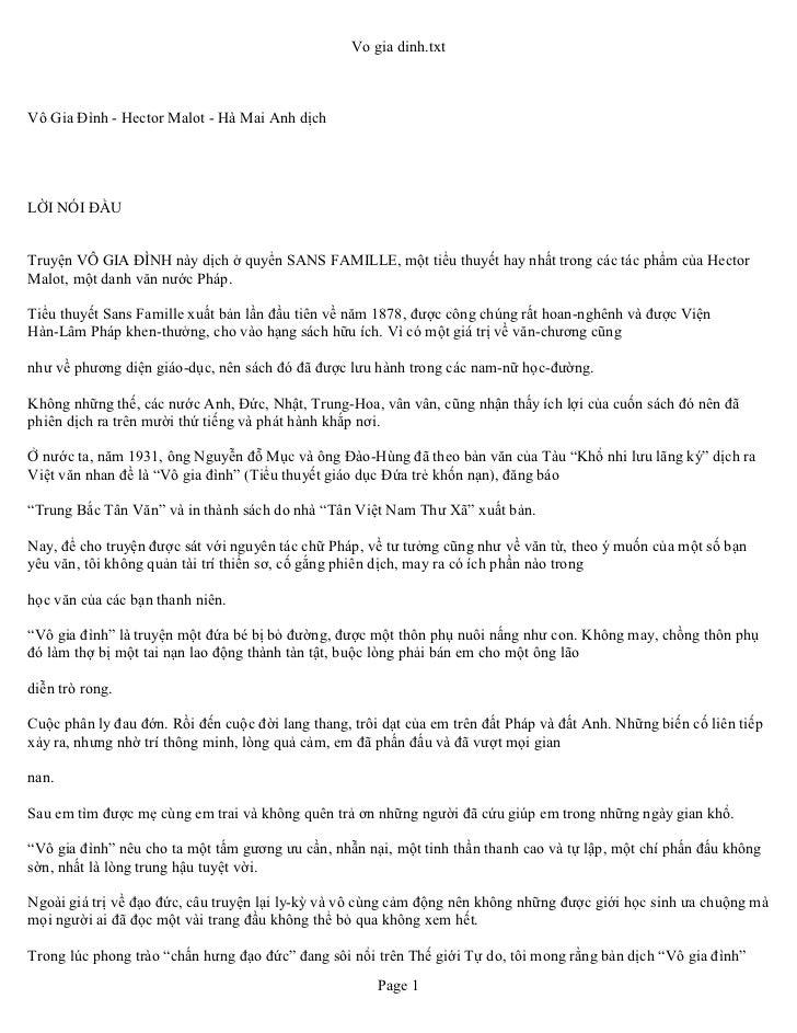 Vo gia dinh.txtVô Gia Đình - Hector Malot - Hà Mai Anh dịchLỜI NÓI ĐẦUTruyện VÔ GIA ĐÌNH này dịch ở quyển SANS FAMILLE, mộ...