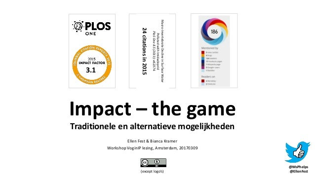 (except logo's) Impact – the game Traditionele en alternatieve mogelijkheden Ellen Fest & Bianca Kramer Workshop VoginIP l...