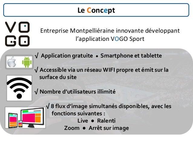 √ Application gratuite ● Smartphone et tablette √ Accessible via un réseau WIFI propre et émit sur la surface du site √ No...