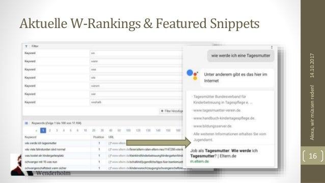 Aktuelle W-Rankings& Featured Snippets 14.10.2017Alexa,wirmüssenreden! 16