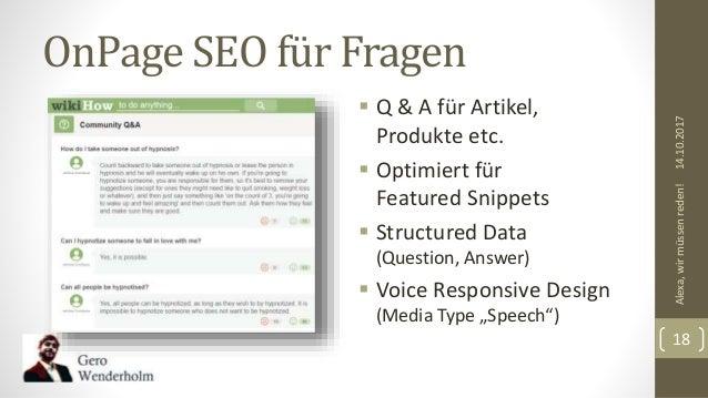 OnPage SEO für Fragen  Q & A für Artikel, Produkte etc.  Optimiert für Featured Snippets  Structured Data (Question, An...