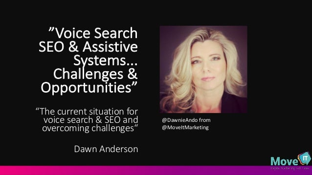 """Voice	   Search	    SEO	   &	   Assistive	    Systems...	    Challenges	   &	    Opportunities""	    ""The	   current	   si..."