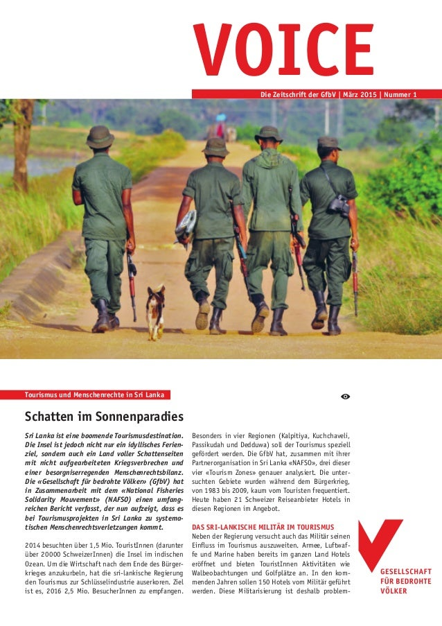 VOICEDie Zeitschrift der GfbV | März 2015 | Nummer 1 Schatten im Sonnenparadies Sri Lanka ist eine boomende Tourismusdesti...
