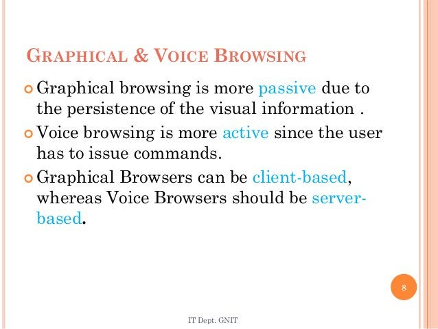  Graphical browsing is more passive due to the persistence of the visual information .  Voice browsing is more active si...