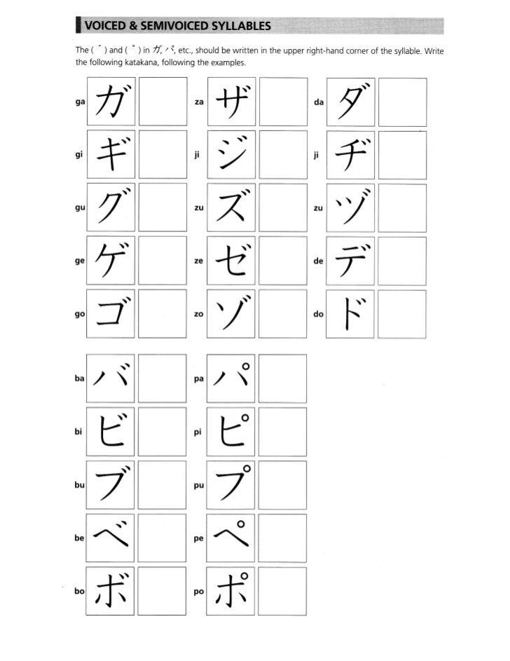Katakana / Voiced & Semivoiced Syllables
