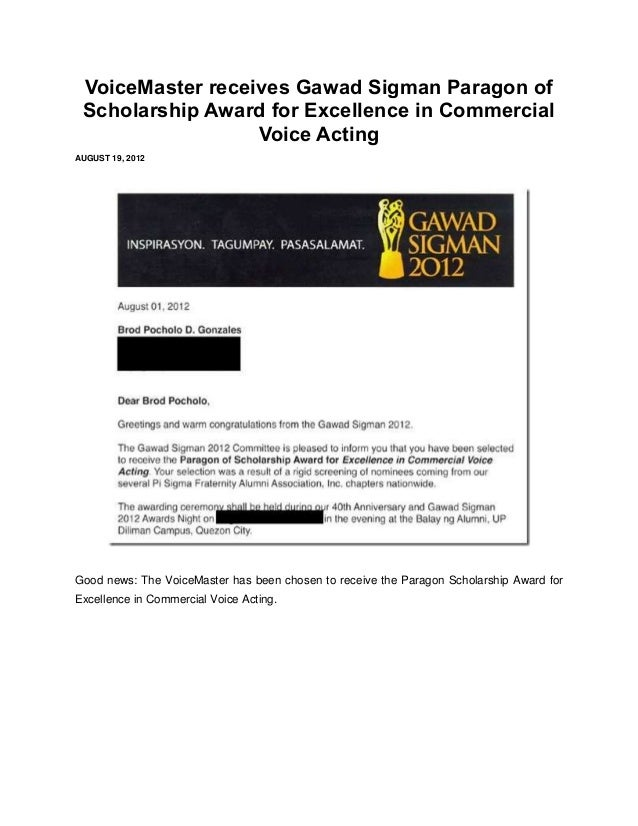 VoiceMaster receives Gawad Sigman Paragon of Scholarship Award for Excellence in Commercial                  Voice ActingA...