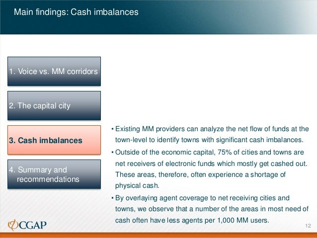 Main findings: Cash imbalances  1. Voice vs. MM corridors  2. The capital city • Existing MM providers can analyze the net...