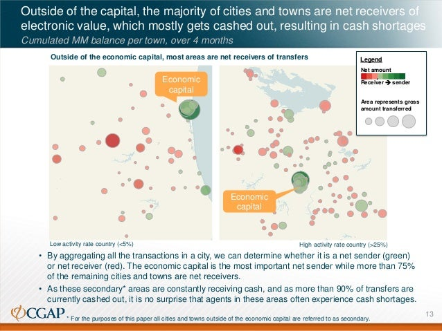 Outside of the capital, the majority of cities and towns are net receivers of electronic value, which mostly gets cashed o...