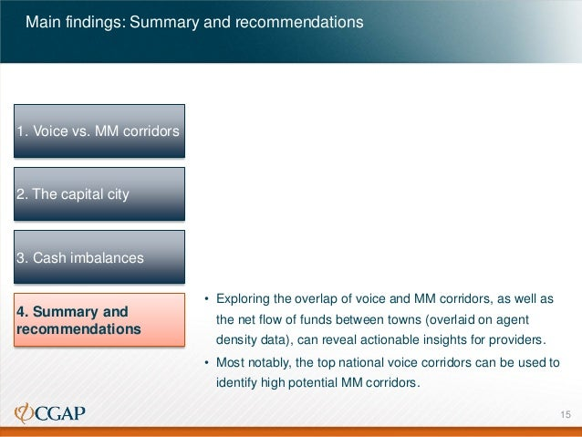 Main findings: Summary and recommendations  1. Voice vs. MM corridors  2. The capital city  3. Cash imbalances • Exploring...