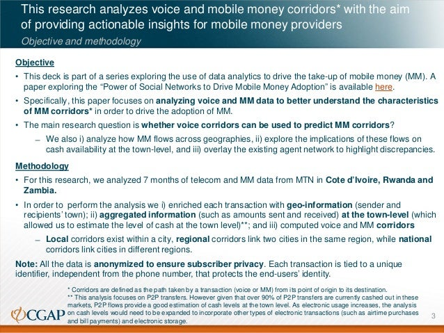This research analyzes voice and mobile money corridors* with the aim of providing actionable insights for mobile money pr...