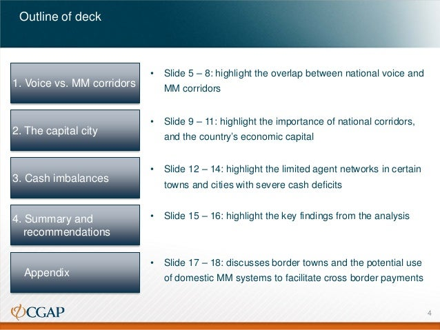 Outline of deck  •  1. Voice vs. MM corridors  2. The capital city  3. Cash imbalances  Slide 5 – 8: highlight the overlap...