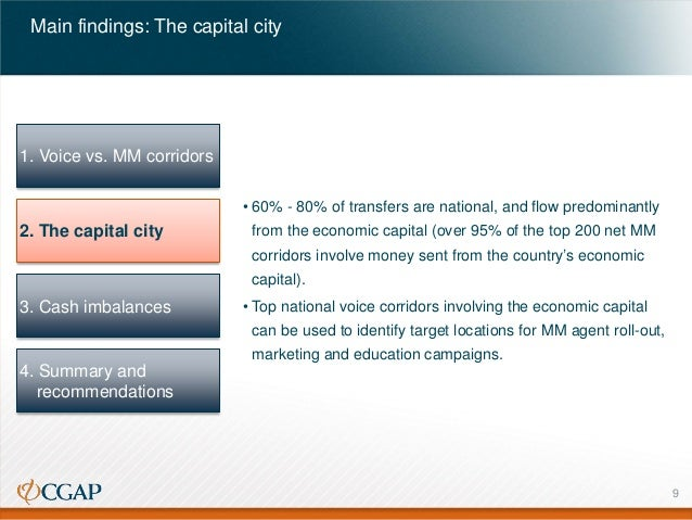 Main findings: The capital city  1. Voice vs. MM corridors • 60% - 80% of transfers are national, and flow predominantly  ...