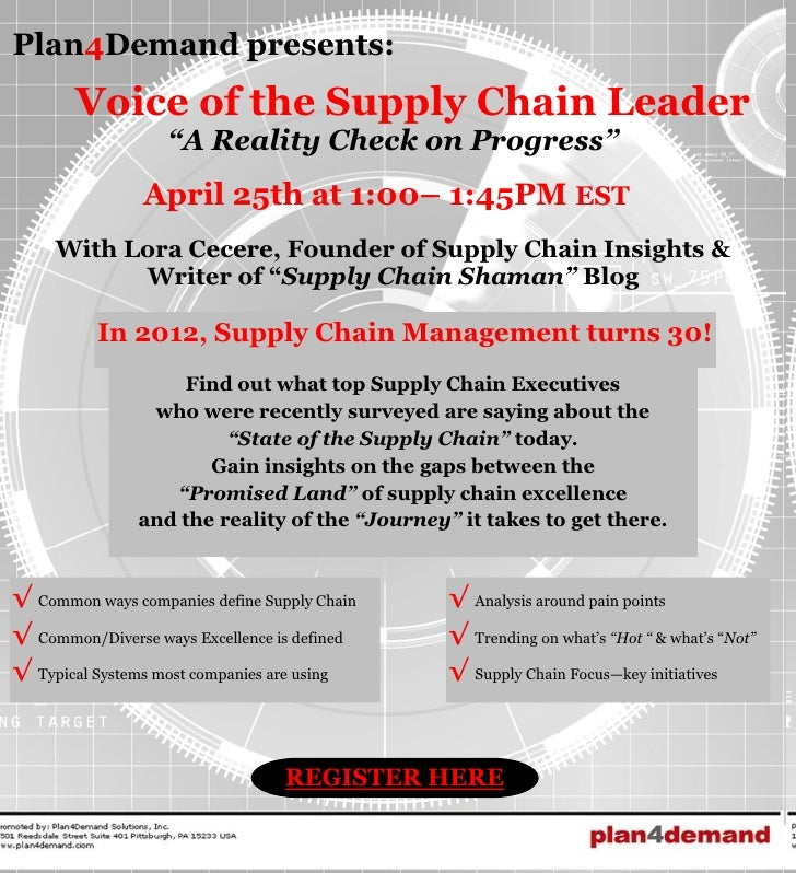 """Plan4Demand presents:       Voice of the Supply Chain Leader                   """"A Reality Check on Progress""""              ..."""