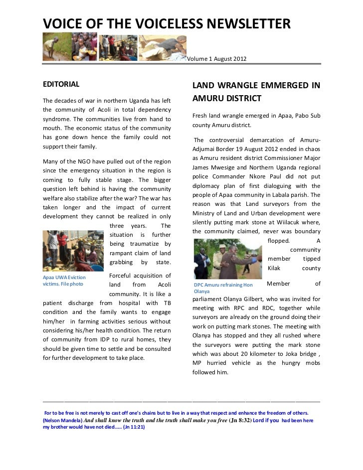 VOICE OF THE VOICELESS NEWSLETTER                                                                 Volume 1 August 2012EDIT...