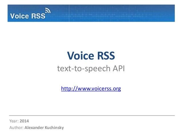 Voice RSS Text-To-Speech API