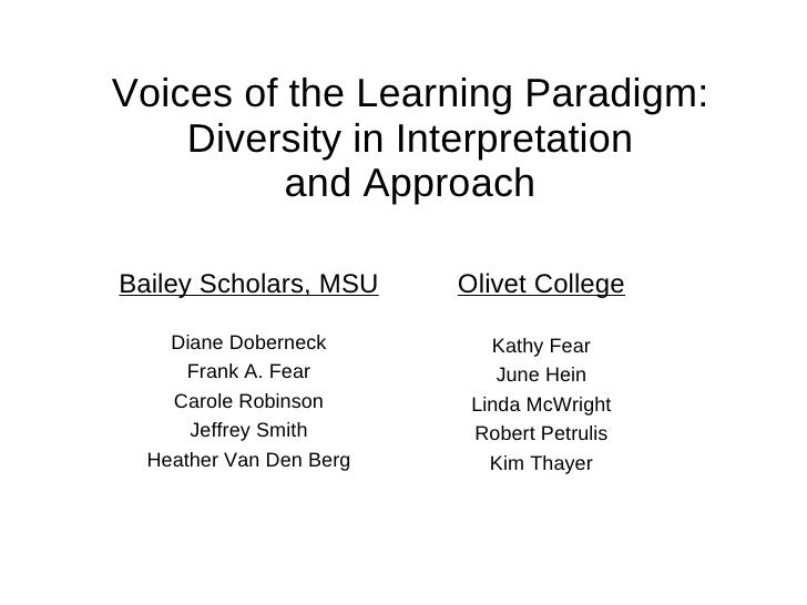Voices of the Learning Paradigm: Diversity in Interpretation and Approach Olivet College Kathy Fear June Hein Linda McWrig...