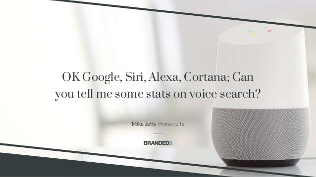 @mikerjeffs Voice Search Branded3 OK Google, Siri, Alexa, Cortana; Can you tell me some stats on voice search? Mike Jeffs ...