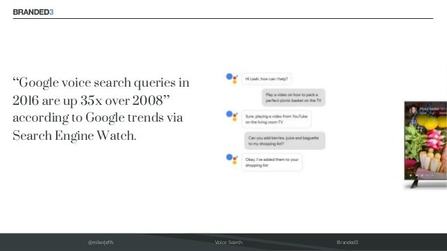 """@mikerjeffs Voice Search Branded3 """"Google voice search queries in 2016 are up 35x over 2008"""" according to Google trends vi..."""