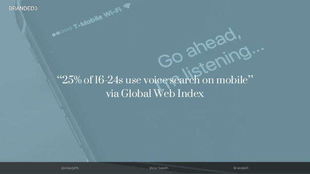 """@mikerjeffs Voice Search Branded3 """"25% of 16-24s use voice search on mobile"""" via Global Web Index"""