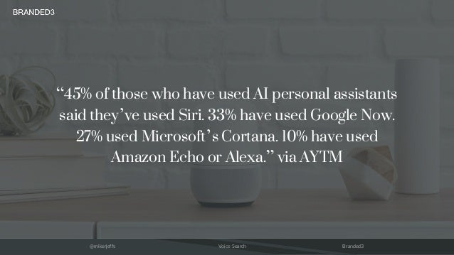 """@mikerjeffs Voice Search Branded3 """"45% of those who have used AI personal assistants said they've used Siri. 33% have used..."""