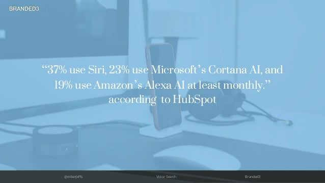 "@mikerjeffs Voice Search Branded3 ""37% use Siri, 23% use Microsoft's Cortana AI, and 19% use Amazon's Alexa AI at least mo..."