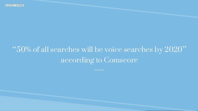 """@mikerjeffs Voice Search Branded3 """"50% of all searches will be voice searches by 2020"""" according to Comscore"""