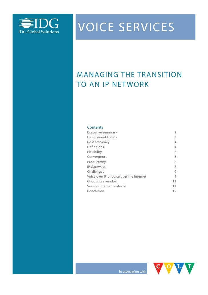 VoICE SErVICES   ManaGInG thE tranSItIon to an IP nEt work       Contents   Executive summary                           2 ...