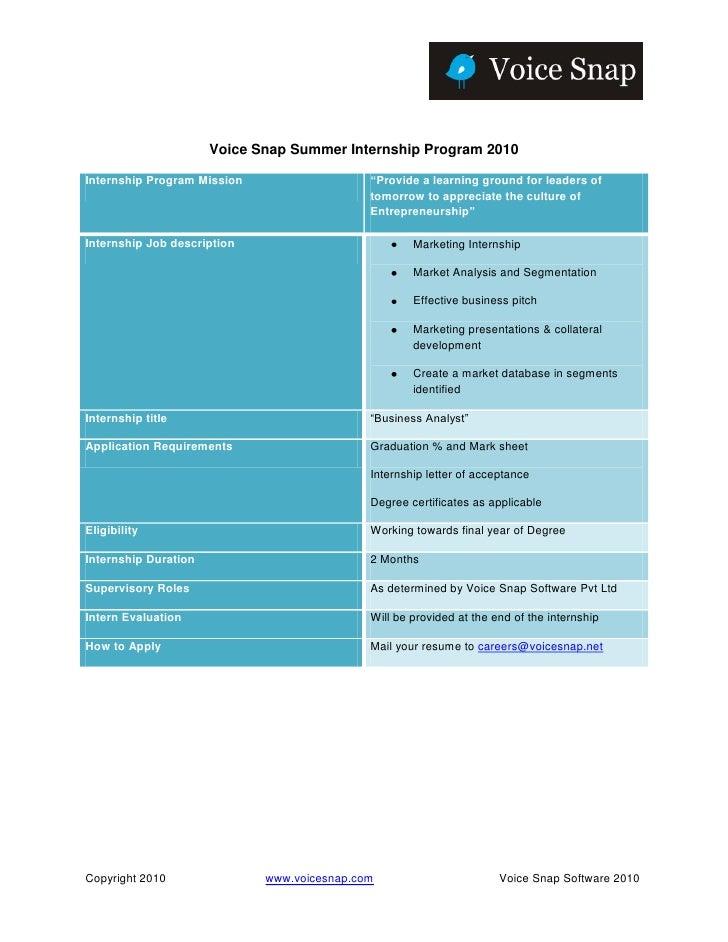 "Voice Snap Summer Internship Program 2010Internship Program Mission                   ""Provide a learning ground for leade..."