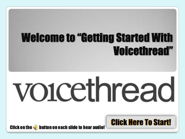 """Welcome to """"Getting Started With                         Voicethread""""Click on the   button on each slide to hear audio!"""