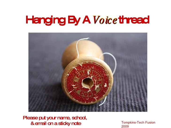 Hanging By A  Voice thread Hanging By A  Voice thread Please put your name, school,  & email on a sticky note