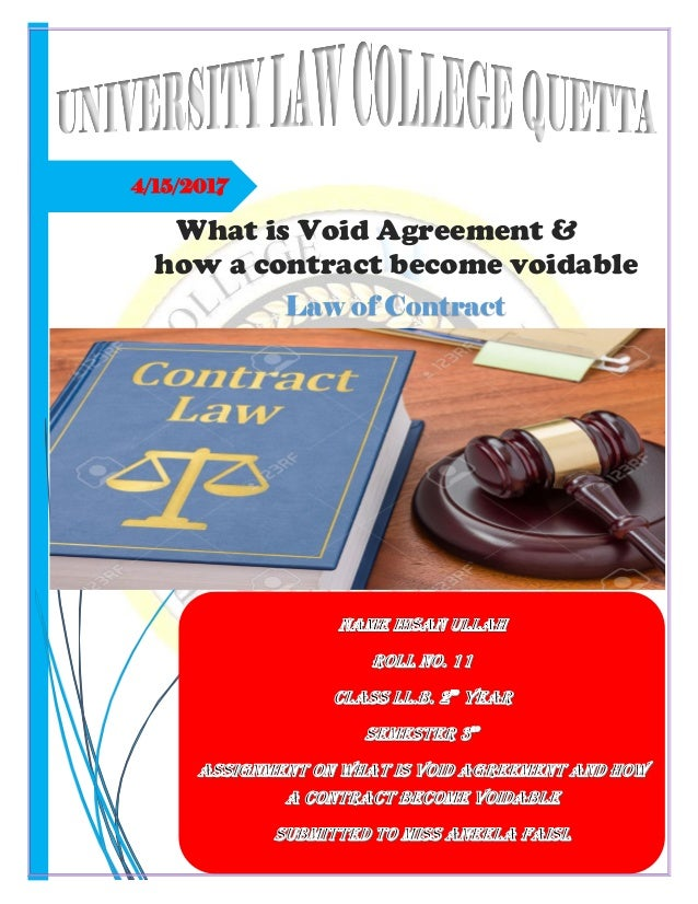 Void Agreement And How A Contract Become Voidable