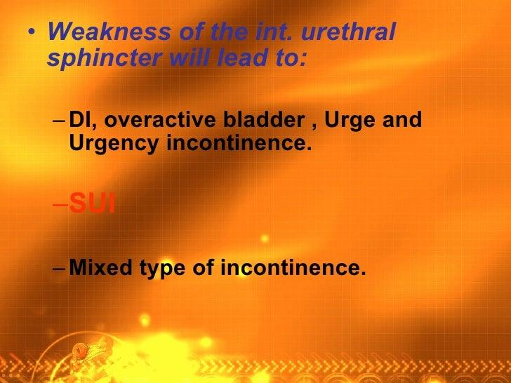 <ul><li>Weakness of the int. urethral sphincter will lead to:   </li></ul><ul><ul><li>DI, overactive bladder , Urge and Ur...