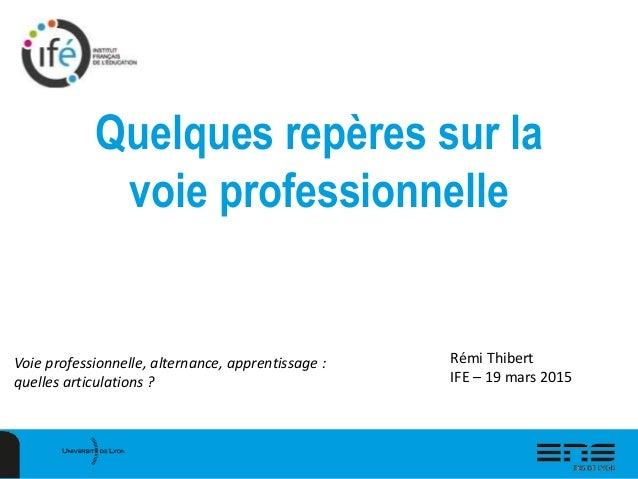 Quelques repères sur la voie professionnelle Voie professionnelle, alternance, apprentissage : quelles articulations ? Rém...