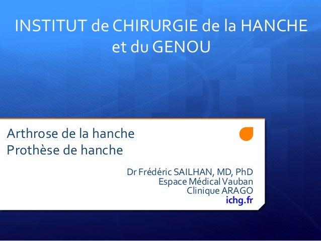 Arthrose  de  la  hanche     Prothèse  de  hanche      Dr  Frédéric  SAILHAN,...