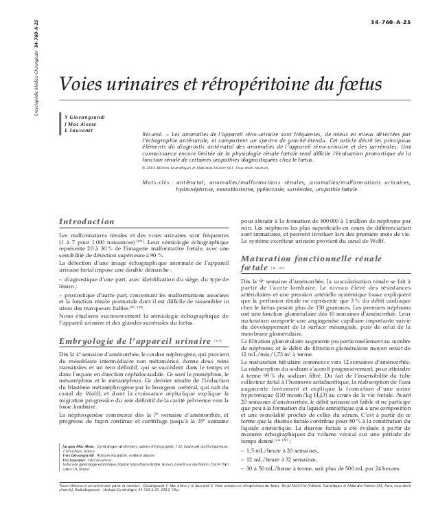 Voies urinaires et rétropéritoine du foetus  Y Giovangrandi  J Mac Aleese  E Sauvanet  Résumé. – Les anomalies de l'appare...