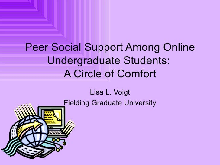 Peer Social Support Among Online Undergraduate Students:  A Circle of Comfort Lisa L. Voigt Fielding Graduate University
