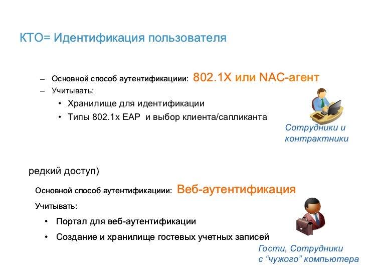 КТО= Идентификация пользователя   – Основной способ аутентификациии:   802.1X или NAC-агент   – Учитывать:       • Хран...