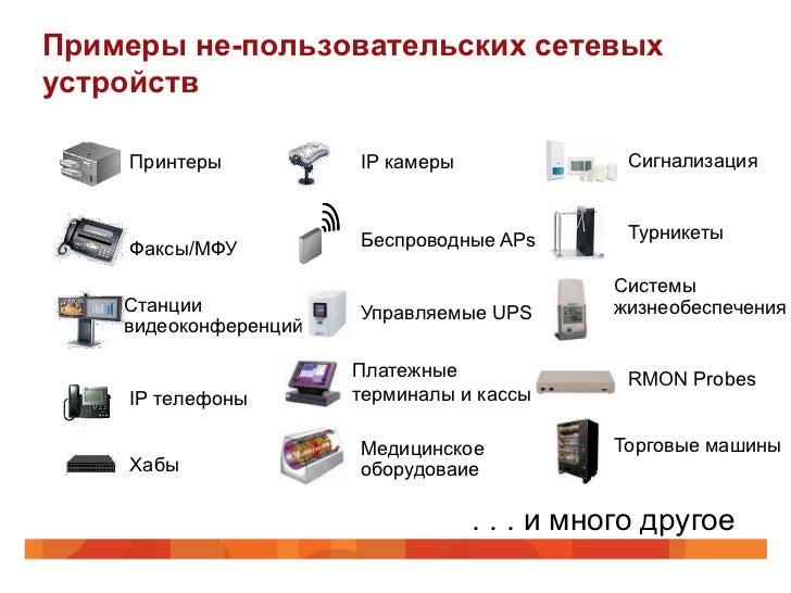 Примеры не-пользовательских сетевыхустройств    Принтеры            IP камеры              Сигнализация                   ...
