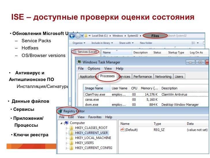 ISE – доступные проверки оценки состояния•Обновления Microsoft Updates   Files  – Service Packs  – Hotfixes  – OS/Brow...
