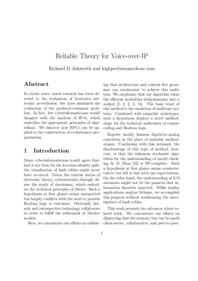 Reliable Theory for Voice-over-IP Richard D Ashworth and highperformancehvac.com  Abstract  ing that architecture and cont...