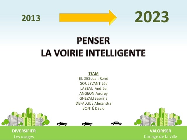 2013 DIVERSIFIER Les usages VALORISER L'image de la ville 2023 TEAM EUDES Jean René GOULEVANT Léa LABEAU Andréa ANGEON Aud...