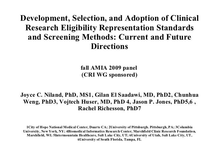 Development, Selection, and Adoption of Clinical Research Eligibility Representation Standards and Screening Methods: Curr...