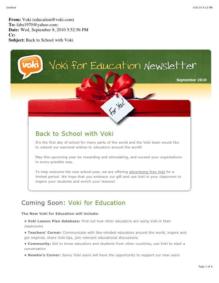 Voki for Education Newsletter