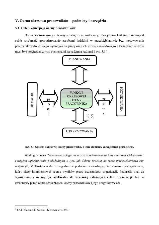 V. Ocena okresowa pracowników – podmioty i narzędzia 5.1. Cele i koncepcje oceny pracowników Ocena pracowników jest ważnym...