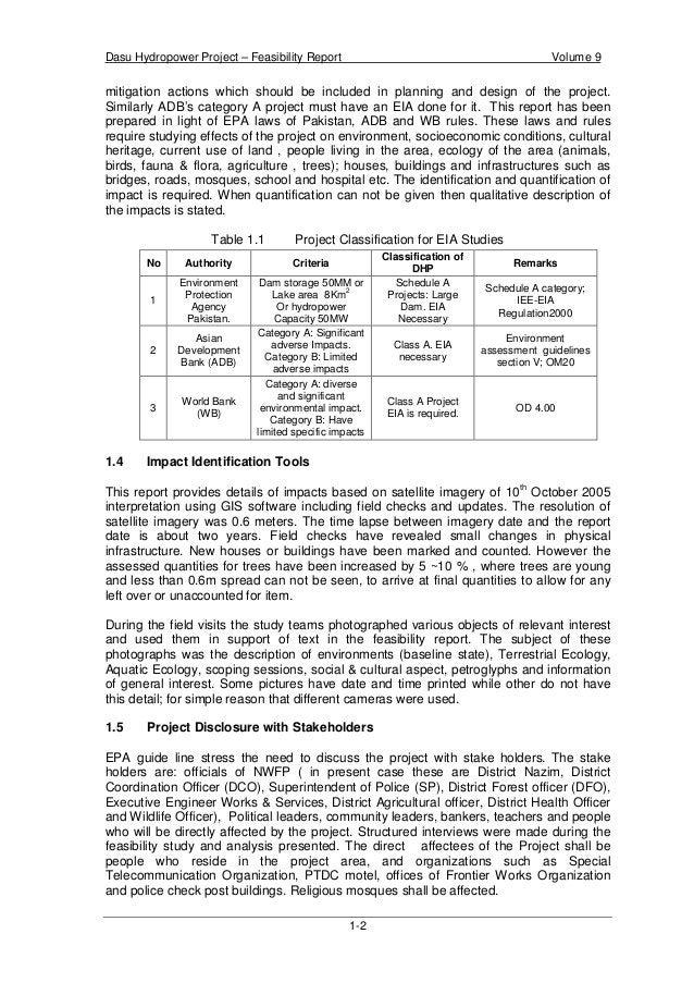 Dasu Hydropower Project – Feasibility Report Volume 9 1-2 mitigation actions which should be included in planning and desi...