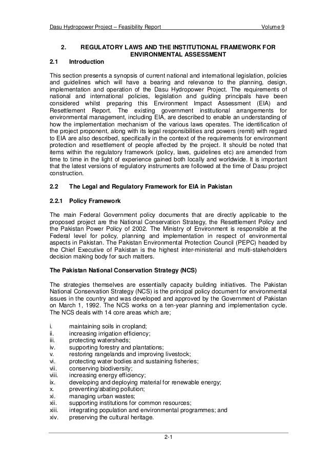 Dasu Hydropower Project – Feasibility Report Volume 9 2-4 Tribunals and appointment of Environmental Magistrates. The need...