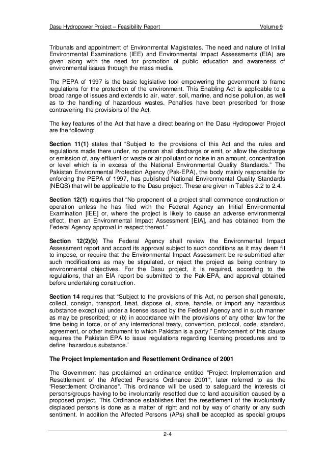 Dasu Hydropower Project – Feasibility Report Volume 9 2-7 - NWFP River Rules 1952. - NWFP Protection of Trees and Bushwood...